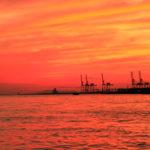 大阪港 埠頭の夕日 1
