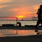 大阪港の夕日