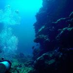 沖縄石垣島 海底を進むダイバー