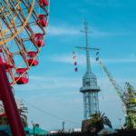 神戸モザイクの大観覧車と旧新港第五突堤信号所