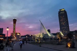 夕日に染まる神戸ポートタワー メリケンパーク