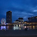 神戸 ハーバーランドの夜景 海と観覧車