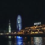 神戸ベイエリアの夜景 海と観覧車