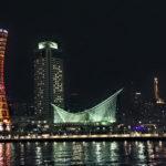 神戸の夜景 海に映るライトアップ