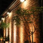 夜の神戸煉瓦倉庫 壁と観葉植物
