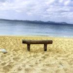 南国の青い海 砂浜と流木で作った椅子 2