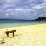 南国の青い海 砂浜と流木で作った椅子 1
