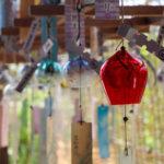 奈良おふさ観音風鈴まつり 赤い透明の風鈴