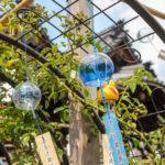 奈良おふさ観音風鈴まつり 青い風鈴とあひるの風鈴