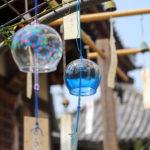 奈良おふさ観音風鈴まつり 青い透明の風鈴