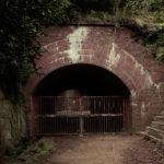 友が島 草木に覆われたレンガ造りのトンネル入口