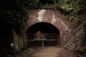 友が島 草木に覆われたレンガ造りのトンネル入り口