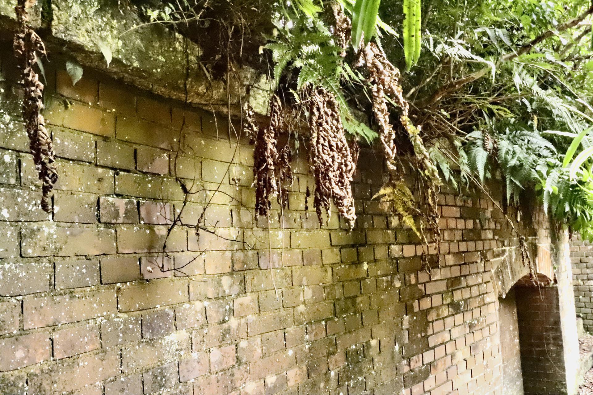 友が島 レンガ造りの壁