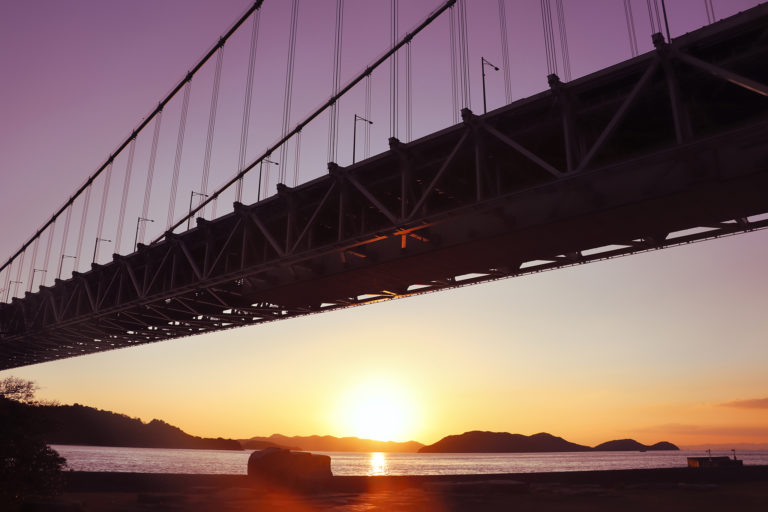 瀬戸大橋超しに沈む夕日