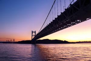 岡山側から見た夕暮れ時の瀬戸大橋