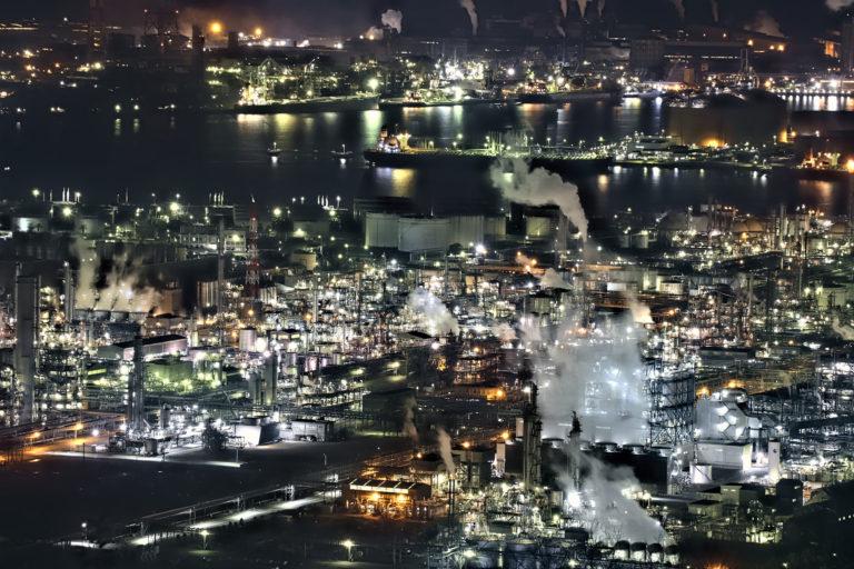 水島臨海工業地帯の夜景