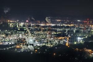 岡山県倉敷市水島コンビナートの工場夜景