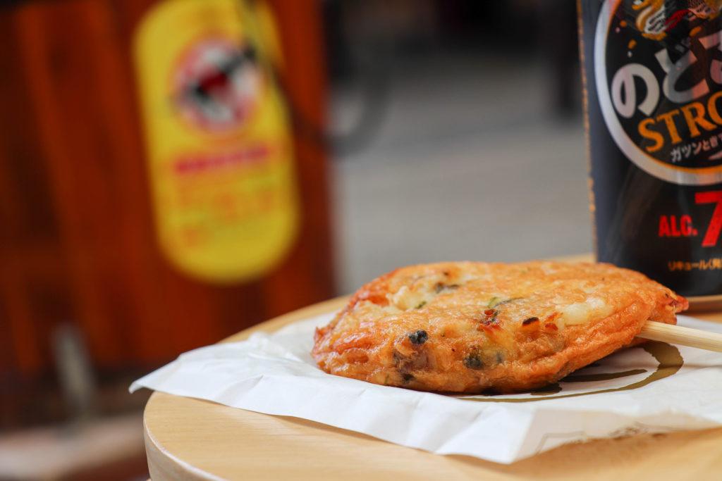 商店街食べ歩き 天ぷらとビール