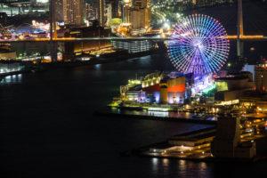 コスモタワー展望台からみた海遊館の観覧車