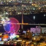 咲洲庁舎展望台から見た海遊館と阪神高速湾岸線