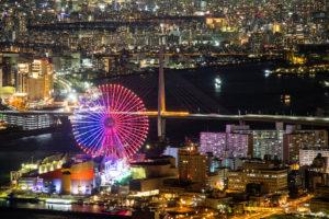 咲洲庁舎展望台から見た大阪の街と海遊館の夜景