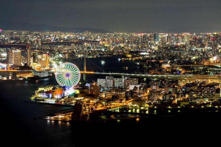 コスモタワー展望台からの海遊館と大阪の夜景