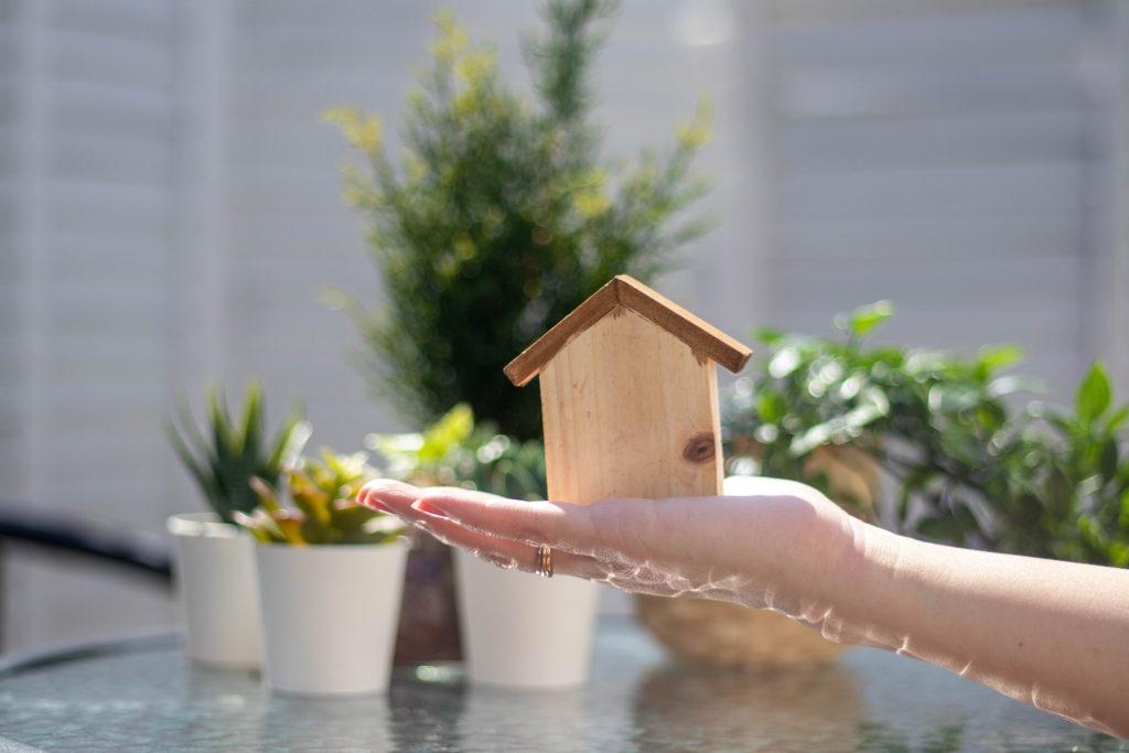 手の平に乗せた家の形の積み木