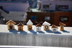 WELCOMEの積み木