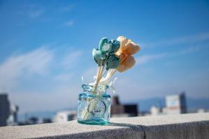 ビルの屋上の青空とお花